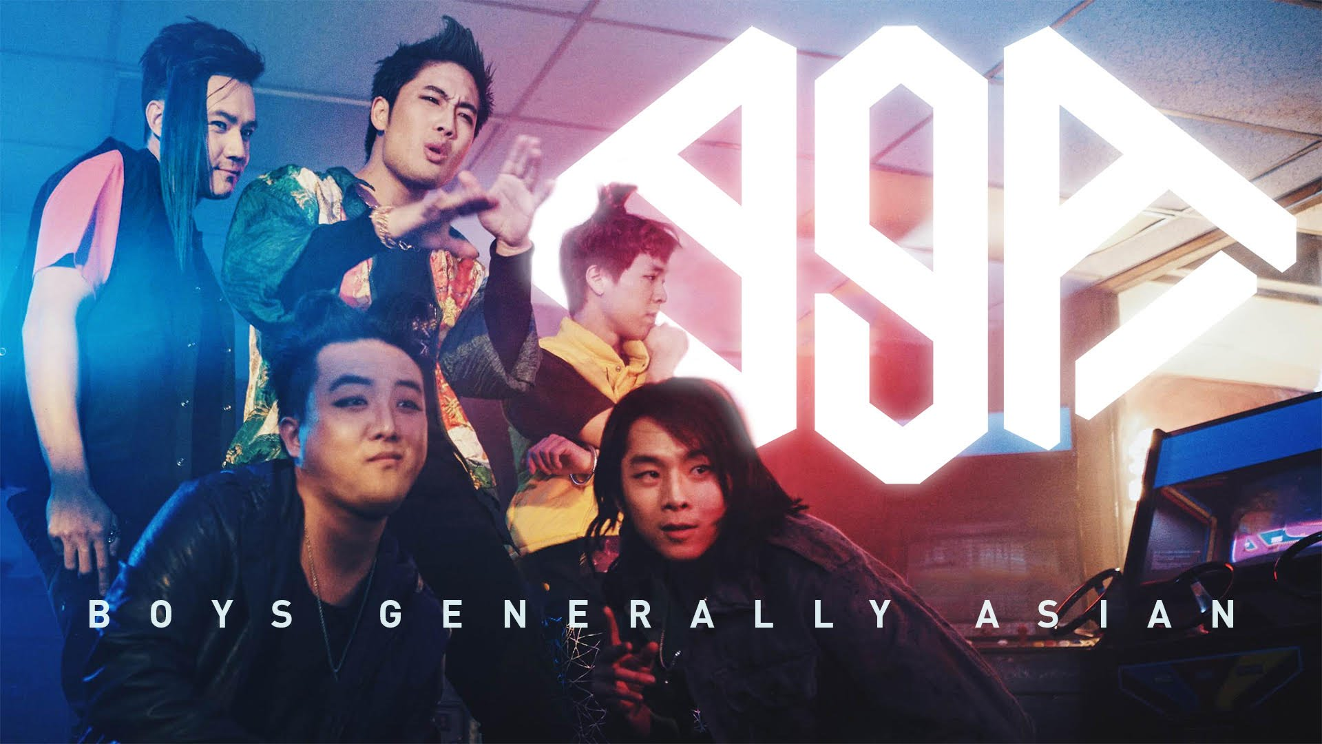 YouTube promo photo - Boys Generally Asian, a parody K-Pop boyband consisting of digital media stars. Left to right: (top) Philip Wang, Ryan Higa, Jun Sung Ahn, (bottom) David Choi, Justin Chon.